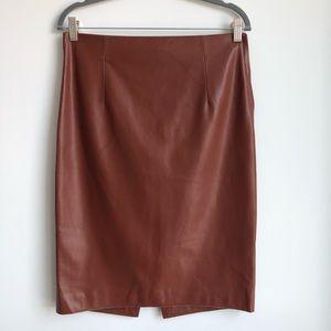 ZARA Faux-Leather Burnt Tan/Brown Skirt